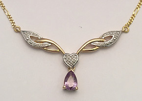 9ct Gold Amethyst Diamond Figaro Necklace