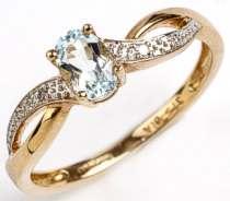 9 carat Gold Blue Topaz & Diamonds set Ring