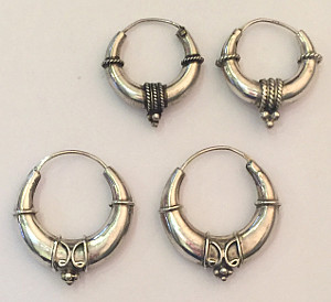 Bali design Sterling Silver Wide Hoops