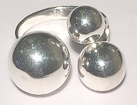 Large Designer Triple Ball Sterling Silver Ring