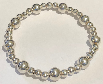 Silver 4mm and 8mm Stretchy Beaded Bracelet