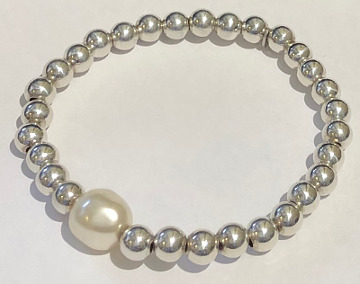 Silver Bead Stretchy Bracelet with faux Pearl