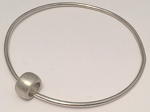 Sterling Silver Round Bangle with Satin Bead
