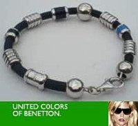 Sterling Silver beads Silicone Bracelet United Colors Benetton