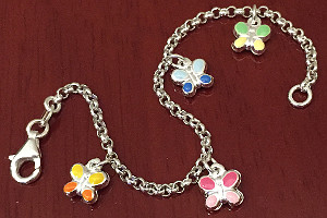 Butterfly Childrens Enamel Sterling Silver Bracelet 155mm