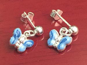 Blue Enamel Sterling Silver Butterfly Drop Earrings