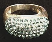 Silver Blue Glitter CZ Wide Dome Ring 925