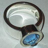 Silver Pointed Blue Cut Stone Ring