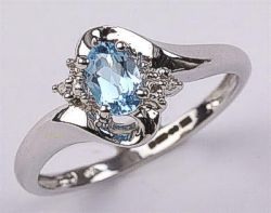 9ct White Gold Topaz and Diamonds Ring
