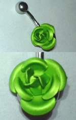 Rose Banana Bar Surgical Steel Flower barbell 1.6x10 Green