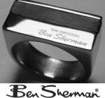 Mens Stainless Steel Ring with Leather strip Ben Sherman