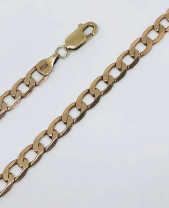 9ct Gold solid Curb Chain gauge 5mm - 510mm
