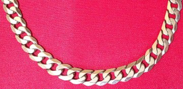 Large Mens 9ct Gold Diamond Cut Curb Chain 460mm x 7mm Wide