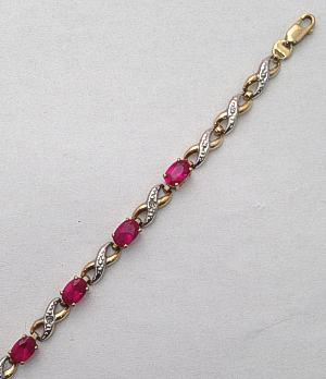 9ct Ruby Red Stone and Diamonds set Bracelet