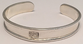 Sterling Silver Childs 925 Stamp Wide Torque Bangle