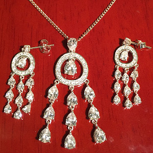 Sterling Silver CZ Chandelier Pendant and Earring set