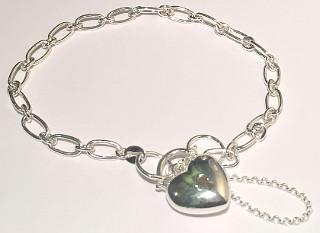 Sterling Silver Heart Padlock Charm Bracelet