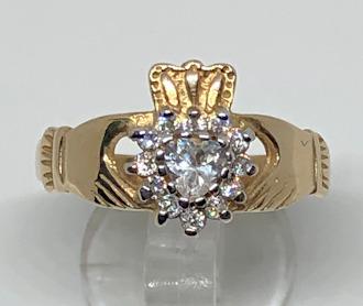 9ct Gold Large CZ set Claddagh Ring