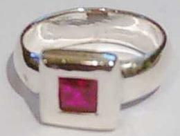 Sterling Silver Square Red Stone set Ring