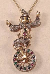 9 carat Gold Diamond set Clown Pendant