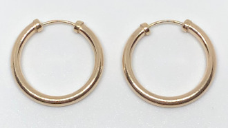9ct Gold Capped Large Hoop Earrings 19mm x 2mm