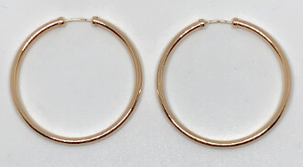 9ct Gold Capped Large Hoop Earrings 34mm x 2mm