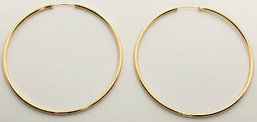 9ct Gold Capped Large Super Hoops 62mm x 2mm