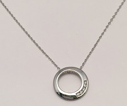 9ct White Gold 5 Diamonds set Circle Pendant