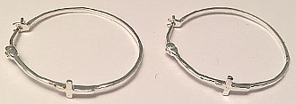 Sterling Silver 925 Hoops with Cross 28mm