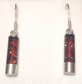 Amber inlay Cylinder Sterling Silver Earrings