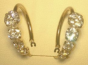 Large CZ set 9ct Gold Hoops (pair)