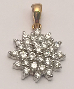 9ct Gold Large CZ Cluster Pendant 12mm