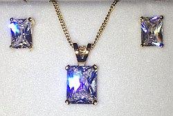 Gold on Sterling Silver CZ set Pendant & Ear Stud set