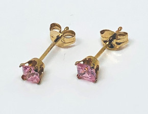 9ct Gold Pink Square CZ set Ear Studs 3mm