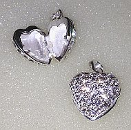 Silver Heart CZ set Pill Box Pendant