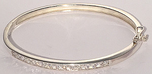 Sterling Silver Oval Bangle with CZ row