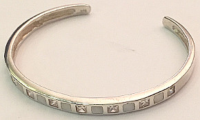 Torque Sterling Silver CZ and Shell set Bangle