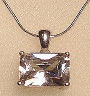 Rectangular CZ Stone Silver Pendant 14x10mm