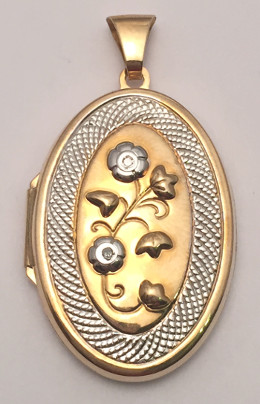 9ct Gold fancy Diamond set Oval Locket