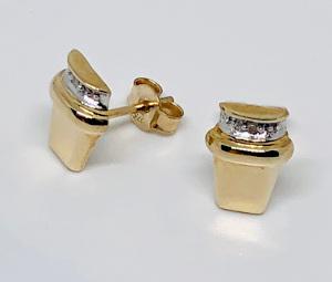 9ct Fancy Gold Diamond Earring Studs