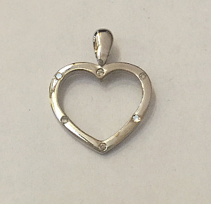 9ct White Gold Open Heart Pendant Diamond set