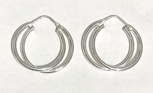 Double Hoop design Sterling Silver Hoop Earrings