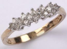 0.20ct Diamond Double Row 9ct Gold Ring