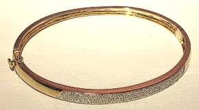 Diamond encrusted Wide 9ct Gold Bangle 0.25 Carat