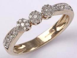 9 carat Gold Triple Cluster Diamonds Ring 20pts