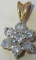 25pt DIAMOND Cluster 9ct Gold Pendant