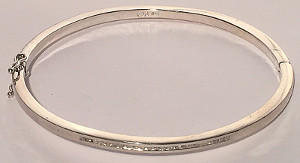 Sterling Silver Bangle set with Row of Diamonds 0.23Ct