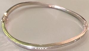Sterling Silver Wavy 15 stone Diamonds 0.15 Carat Bangle