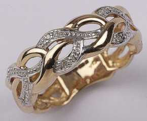 9ct Gold Diamond Knot Band Ring