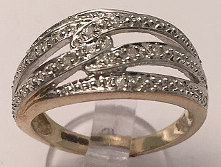 9ct Gold Diamond set Knot Wide Ring